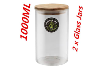 2 x1000ML Food Storage Jar 1L Glass Jars Canister Container Wooden Lid Tube Tubs WM