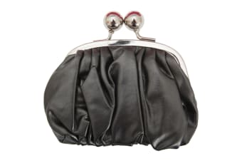 Womens/Ladies Faux Leather Coin Purse With Metal Clasp (Pewter) (One Size)