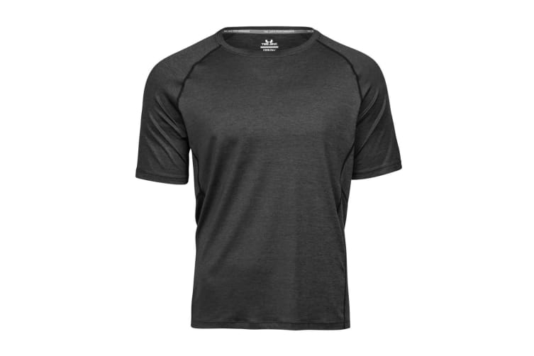 Tee Jays Mens Cool Dry Short Sleeve T-Shirt (Black Melange) (S)