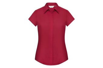 Russell Collection Ladies Cap Sleeve Polycotton Easy Care Fitted Poplin Shirt (Classic Red) (2XL)