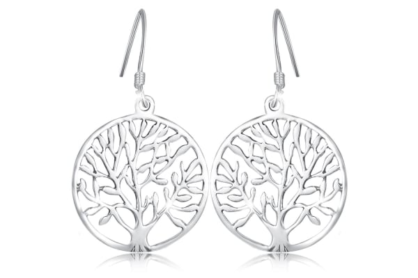 .925 Tree Of Life French Hook Earrings-Silver