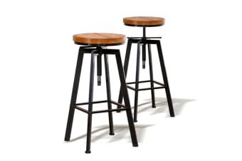 Vintage Industrial Bar Stool Retro Barstool Wood Chair Kitchen Swivel Adjustable