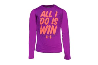 Under Armour Girls' Graphic 1996 All I Do Is Win L/S T-Shirt (Purple)