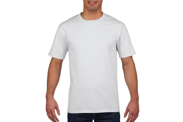 Gildan Mens Premium Cotton Ring Spun Short Sleeve T-Shirt (White) (M)
