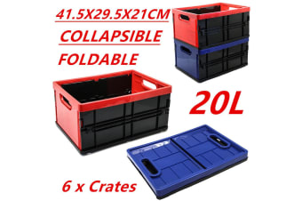 6PK Collapsible Foldable Plastic Storage Tubs 20L Crate Containers Tub BPA FREE