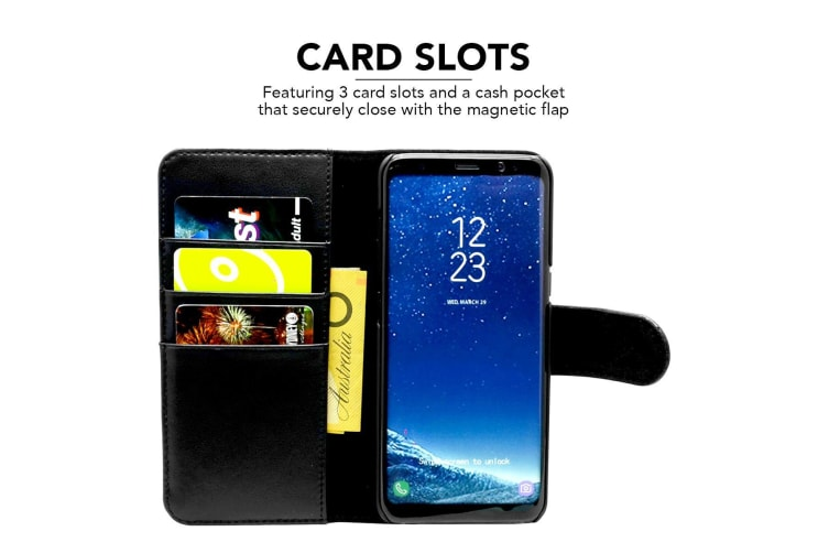 For Samsung Galaxy S8 Wallet Case iCL Real Top-grain Cow Leather Cover Black