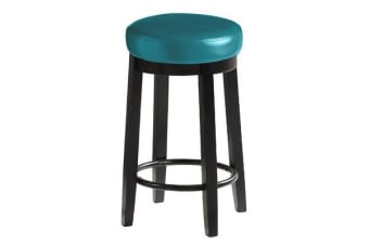 2pcs PU Leather Swivel Bar Stool in Deep Sea 65CM Height