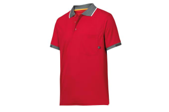 Snickers Mens AllroundWork 37.5 Tech Short Sleeve Polo Shirt (Chilli Red)