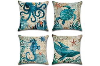 4 Pack Decorative And Comfy Underwater Animal Printed Throw Pillow Covers