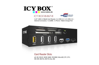 "ICY BOX Standard 5.25"" drive bay USB 3.0 multi card reader with an eSATA port and a USB charging port  (IB-867)"