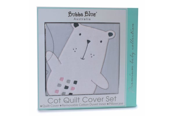 2PK Bubba Blue Beary Sweet Cot Quilt Cover Set