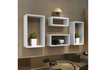 vidaXL Cuboid shelf set of 4 White