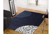 Uber Modern Burst Pattern Rug Navy Blue White