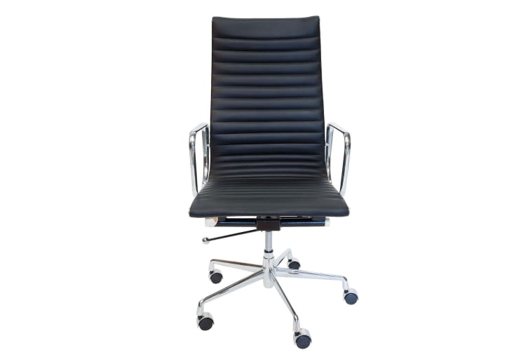 Replica Eames High Back Ribbed Leather Executive Desk / Office Chair | Black