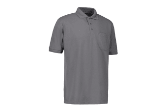 ID Mens Pro Wear Short Sleeve Regular Fitting Polo Shirt With Pocket (Silver Grey)