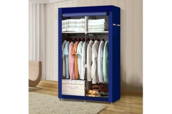 Large Portable Clothes Closet 2 Rack2 Doors In Vy Blue