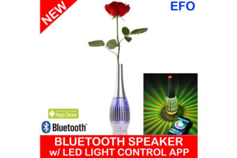 Bluetooth Rechargeable Speaker Vase Led Light Control App Android Handsfree Silver