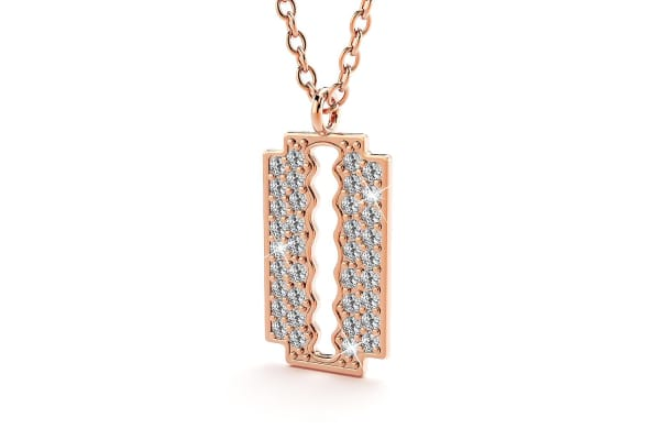 Glittery Blade Necklace-Rose Gold/Clear
