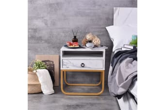 Innis Bedside Table - Bianco Marble / Gold Legs