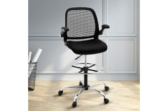 Artiss Veer Drafting Stool Office Chairs Mesh Adjust Armrest Black Standing Desk