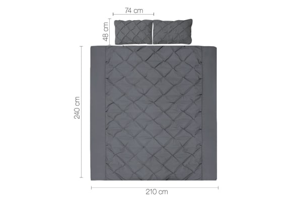 Giselle Bedding Diamond Stitch Quilt Cover Set (King/Charcoal)