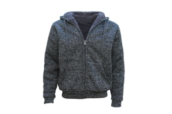 Men's Thick Zip Up Hooded Hoodie w Winter Sherpa Fur Jumper Coat Jacket Sweater - Dark Grey - Dark Grey