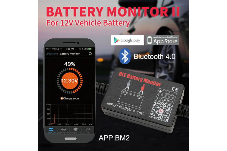 ATEM POWER 12V Vehicle Battery Monitor via bluetooth 4.0 Voltage Meter Tester w/ auto Alarm