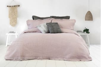 Ardor Flinders Washed Cotton Coverlet Set (Mauve)