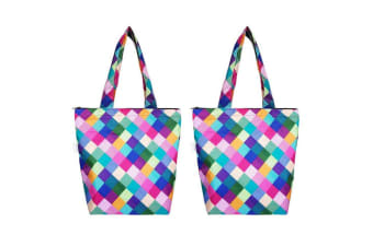 2PK Sachi 40cm Insulated Thermal Cooler Shopping Bag Market Tote Harlequin
