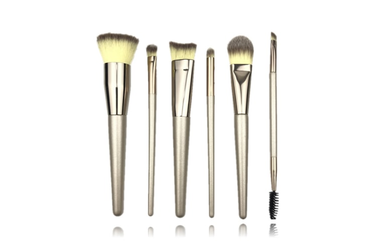 6Pcs Champagne Color Cosmetic Brush Suit Professional Cosmetic Brush - Champagne Gold