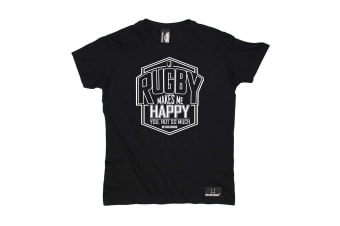 Up And Under Rugby Tee - Makes Me Happy You Not So Much Mens T-Shirt