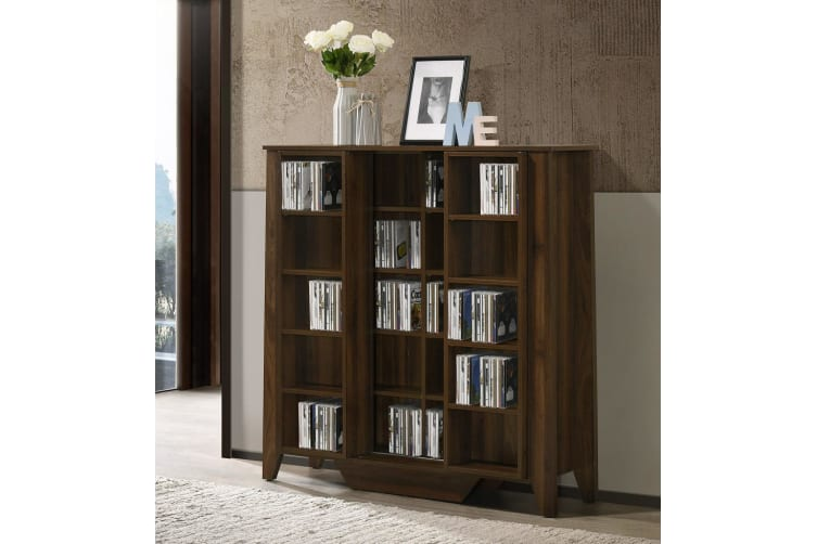Industrial Style DVD Bluray Media Cabinet Storage Bookshelf Display CD Dark wood