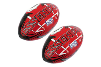 2x Summit AFL Essendon Bombers 20cm Large/Soft Rugby Ball