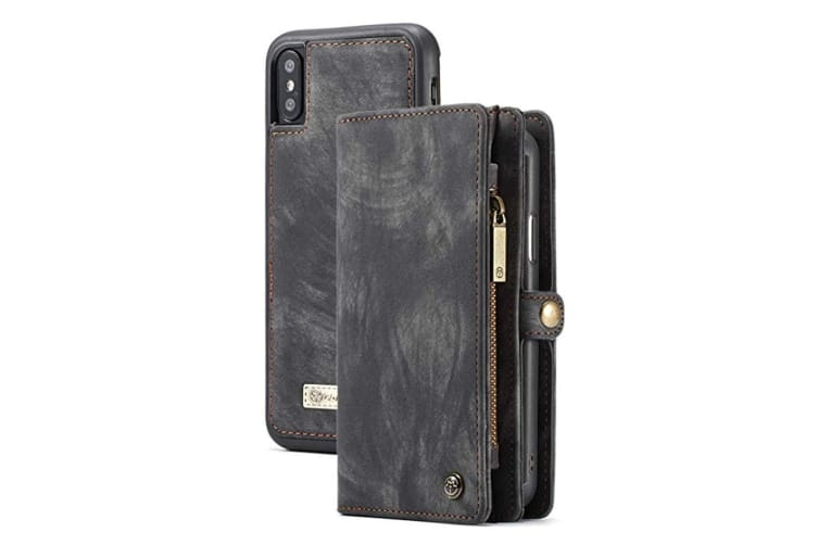 For iPhone XR Case Black Wild Horse Texture Detachable Folio Cover 14 Card Slots