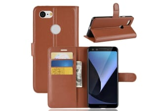 For Google Pixel 3 Leather Wallet Case Brown Lychee Texture Cover Card Slots