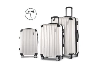 3 Piece Lightweight Hard Suit Case (White/Striped)