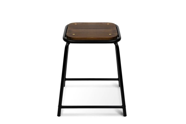 Industrial Pine 4 Set Stackable Wooden Seat Stools (Black)