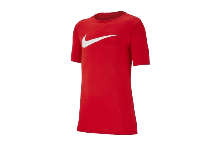 Nike Dri-FIT Swoosh Boy's Training T-Shirt (University Red/White, Size L)