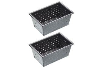 2PK Mastercraft 16cmx10cm Rectangle Loaf Bread Pastry Box Sided Bakeware Pan Tin