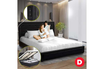 Royal Sleep Double Leather Wood Bed Frame Gas Lift Platform Base Black Bellezza
