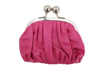 Womens/Ladies Faux Leather Coin Purse With Metal Clasp (Pink) (One Size)