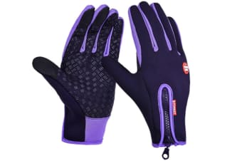 Trendy Outdoor Non-Slip Touch Screen Camping Sports Gloves Purple Xl