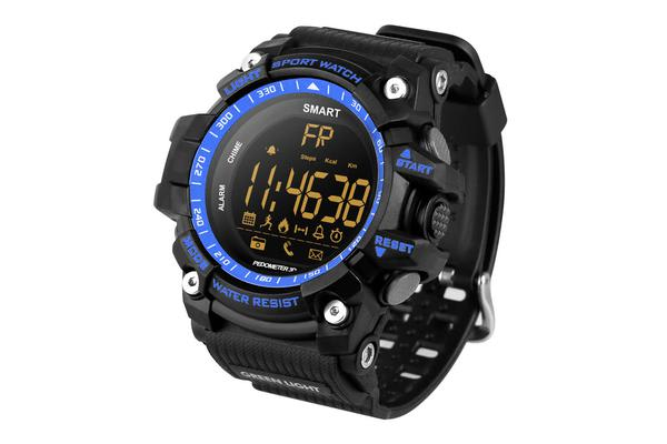 TODO Bluetooth V4.0 Smart Watch 1.2 Fstn Lcd Rechargeable Ip67 Remote Camera - Black Blue