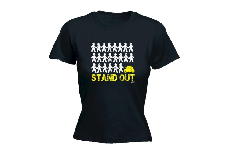 123T Funny Tee - Stand Out Speedmoto - (Large Black Womens T Shirt)
