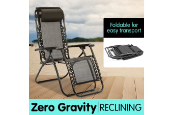 Zero Gravity Reclining Deck Chair - Black