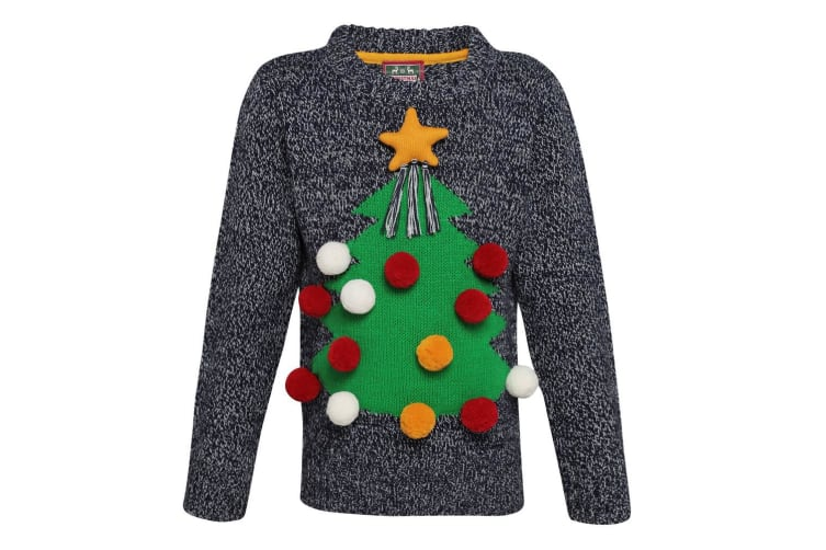 Christmas Shop Childrens/Kids 3D Christmas Jumper (Grey) (5/6 years)
