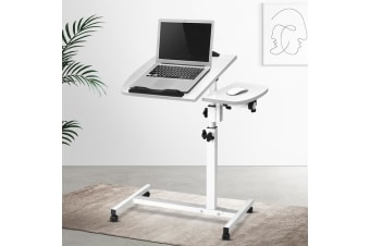 Mobile Laptop Desk Adjustable Height Notebook Computer iPad PC Stand Table White