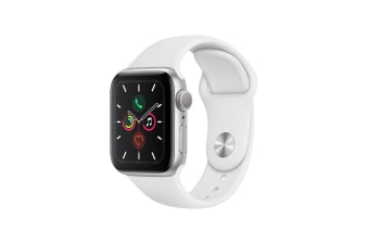 Apple Watch Series 5 (Silver Aluminum, 40mm, White Sport Band, Cellular)