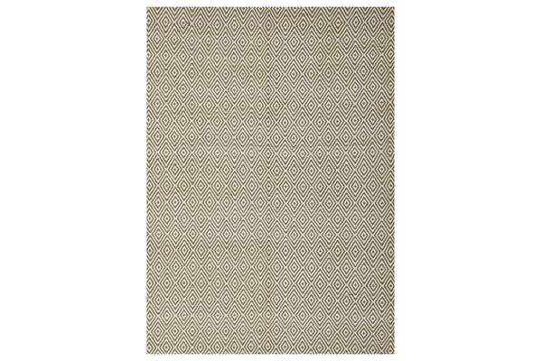 Modern Flatweave Diamond Design Green Rug 280x190cm