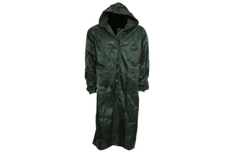 Mens Waterproof Hooded Lightweight Long Outdoor Rain Coat (Olive) (S Chest: 28-32inch)